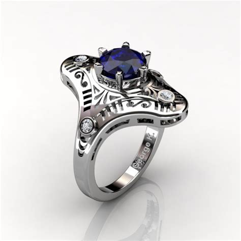 mexican deco 14k white gold 1 0 ct blue sapphire engagement ring wedding ring r351