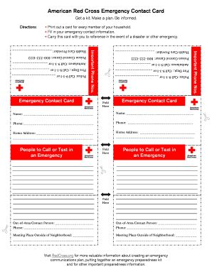 emergency card fill  printable fillable blank