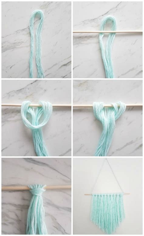 easy diy wall hanging  yarn  quick