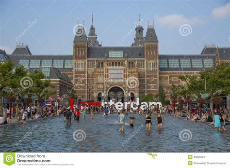 Museum Amsterdam Pool by People In The Pool In Front Of Rijksmuseum In Amsterdam