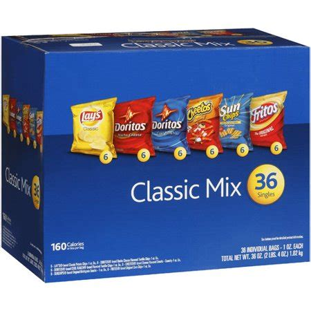 box of chips frito lay individual bags of snacks potato chips tortilla chips corn chips classic mix 36ct