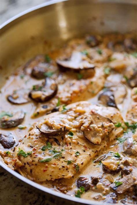 skillet chicken  garlicky mushroom cream sauce