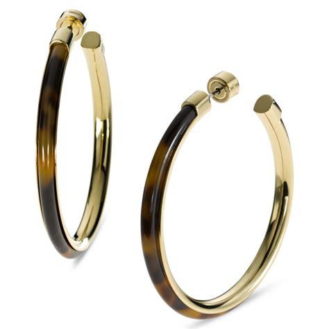 Michael Kors Gold Tone Tortoise Large Hoop Earrings in