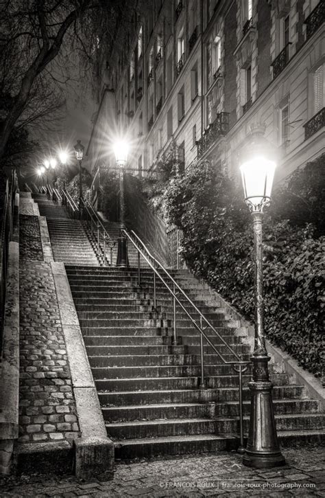stairs  montmartre  night paris
