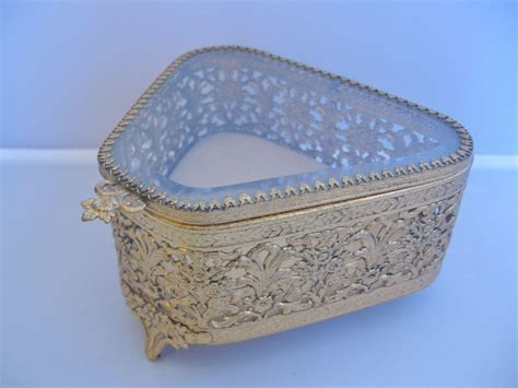 360 best shop vintage jewelry vintage ormolu jewelry box casket with beveled glass top
