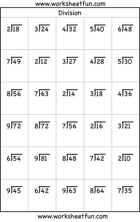 division worksheets 3rd grade math easy without
