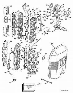 johnson carburetor intake manifold parts for 1997 150hp With diagram of 1986 e70elcdc evinrude intake manifold diagram and parts