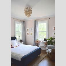 Pale Pink Bedroom With Touches Of Indigo; Home Tour, Room