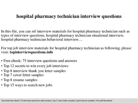 Pharmacy Questions by Hospital Pharmacy Technician Questions