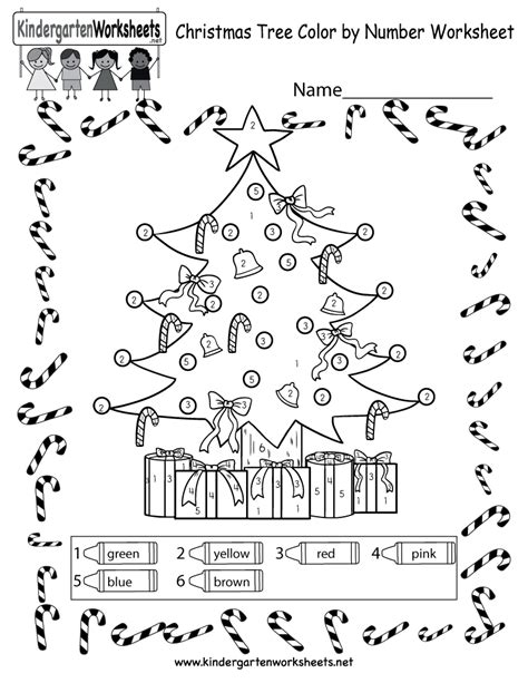 christmas tree coloring worksheet  color  number