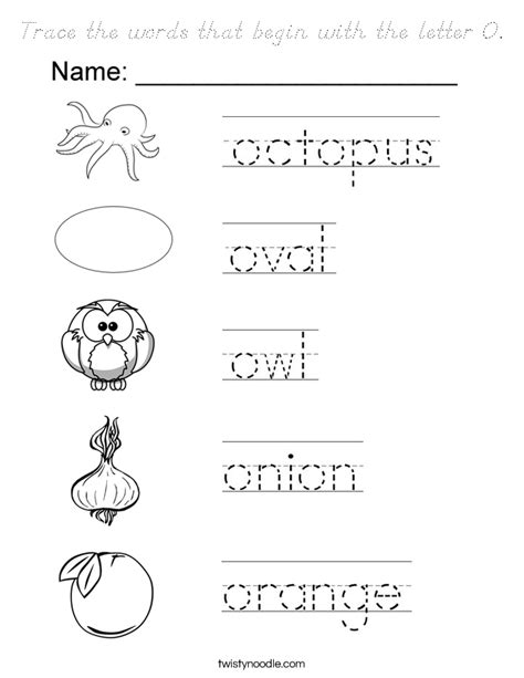 words with the letter o trace the words that begin with the letter o coloring page 50328