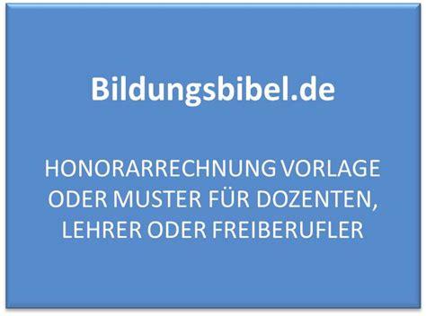 honorarrechnung vorlage muster dozenten lehrer