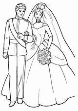 Coloring Barbie Cartoon Bride Marriage Sheet Bridal Ken Wife sketch template