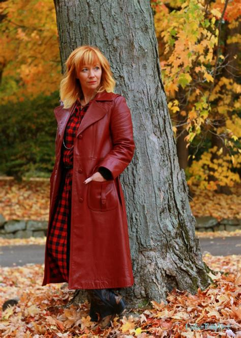 vintage red leather coat buffalo plaid musings