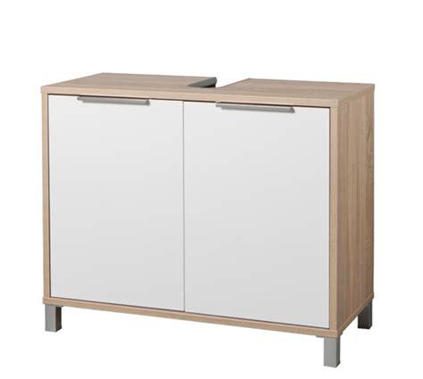 meuble sous lavabo armonia chene sonoma blanc brillant