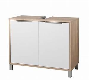meuble sous lavabo armonia chene sonoma blanc brillant With bricomarché meuble de salle de bain