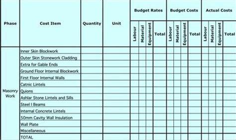 masonry estimating sheet  estimate