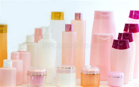 Empty Beauty Products Plastic Bottles Stock Image