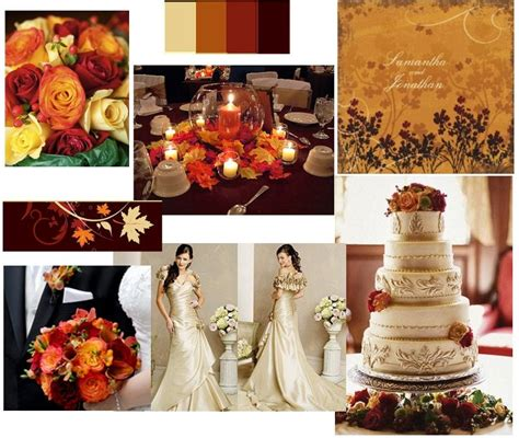 Wedding theme idea using antique gold burnt orange brick