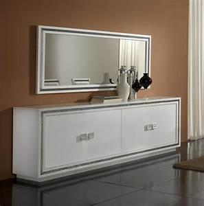 miroir de salle a manger rectangulaire design laque blanc With miroir de salle a manger rectangulaire