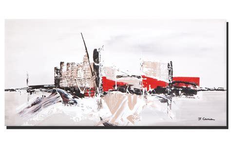 bureau 90 cm de large tableau ville contemporaine gris taupe grand format