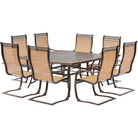 manor 9 outdoor dining set with large square table