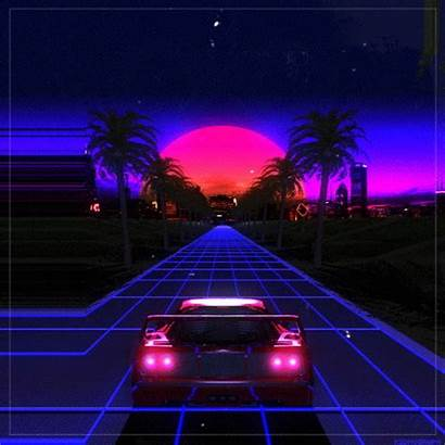 Vaporwave Synthwave Contemporary Retro Sunset Aesthetic Purple