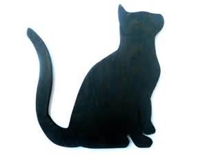 Wooden Halloween Black Cat Figurine