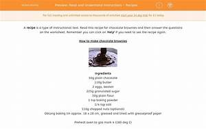 Read And Understand Instructions - Recipes Worksheet