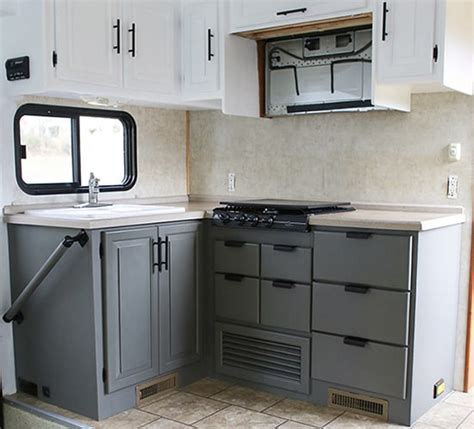 painting rv cabinets rv kitchen cabinets mountain modern