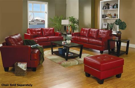 red leather sofa and loveseat coaster samuel 501831 501832 red leather sofa and loveseat
