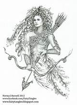 Fairy Coloring Pages Zentangle Elf Norma Burnell Number Tangles Archer Tattoo Lady Elves Doodles Books Fairytangles Tattoos Adult Adults Google sketch template
