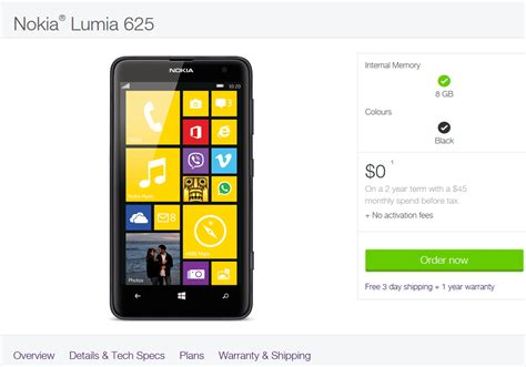 nokia lumia 625 now available at telus in canada