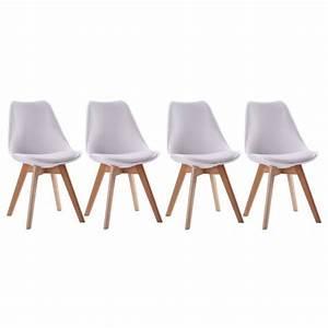 Lot 4 Chaises Scandinaves : chaises style scandinave blanches nora coussins lot de 4 ~ Teatrodelosmanantiales.com Idées de Décoration