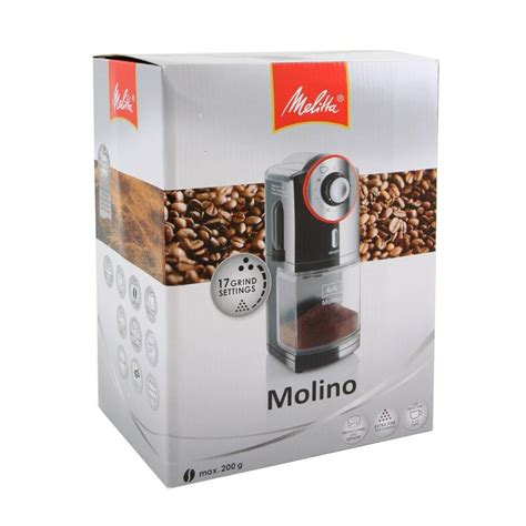 As you set the settings, this electric burr coffee grinder will mill fine, medium, or coarse coffee. Melitta MOLINO Electric Burr Coffee Grinder | Redber.co.uk - Redber Coffee
