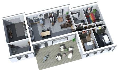 plan plain pied 4 chambres modelisation 3d interieur maison 3 chambres garage 1