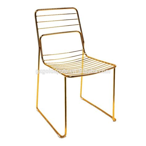 commercial home gold leaf shape metal wire dining chair