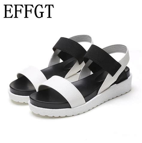 effgt 2018 summer new fashion han edition sandals shoes leather flat sandals shoes casual