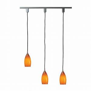 Royal pacific light in amber glass shades and brushed aluminum track pendant