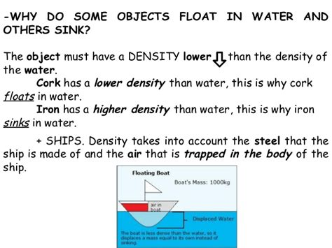 why do things sink or float matter its properties adapted from david mingarro