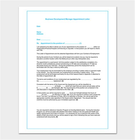 business appointment letter template  samples formats