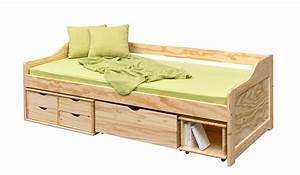lit banquette mathis multi rangements pin massif 90x200 With tapis chambre enfant avec canapé banquette bois