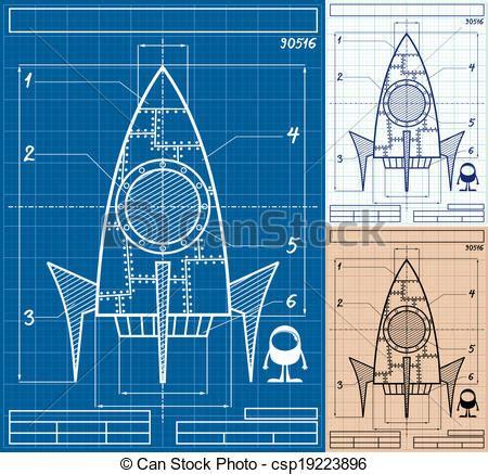 rocket blueprint cartoon cartoon blueprint  rocket ship