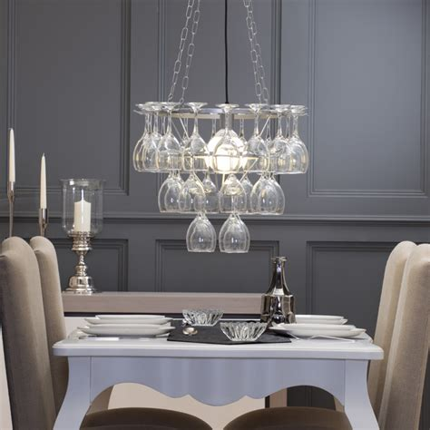 Glass Chandeliers For Dining Room by Litecraft Wine Glass Chandelier 3 Tier Silver