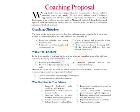 coaching proposal examples samples   examples