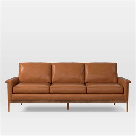 decoro leather sofa with hardwood frame wood frame leather sofa 82 quot west elm