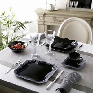 Service De Table Pas Cher : service de table noir et blanc design en image ~ Teatrodelosmanantiales.com Idées de Décoration