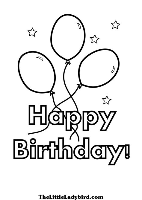 happy birthday coloring page  balloons  stars