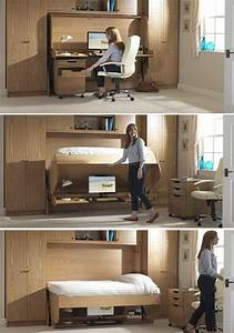 Schrankwand Mit Integriertem Schreibtisch : ideen mit bett und schreibtisch als platzsparende einrichtung ~ Watch28wear.com Haus und Dekorationen