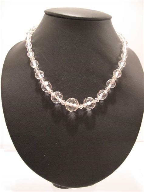 single strand crystal cut glass necklace sold